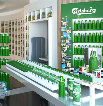 Commercial space design for Carlsberg Franchise store by Fuchsia Creative Singapore