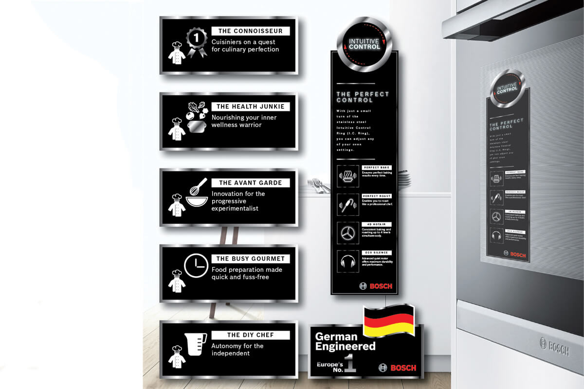 In store communication tools for Bosch Kitchen developed by Fuchsia Creative
