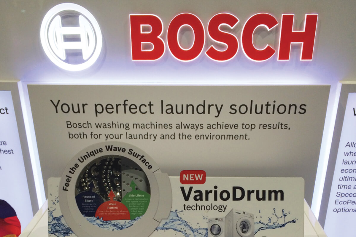 Effective in store communication material for Bosch laundry systems from Fuchsia Creative