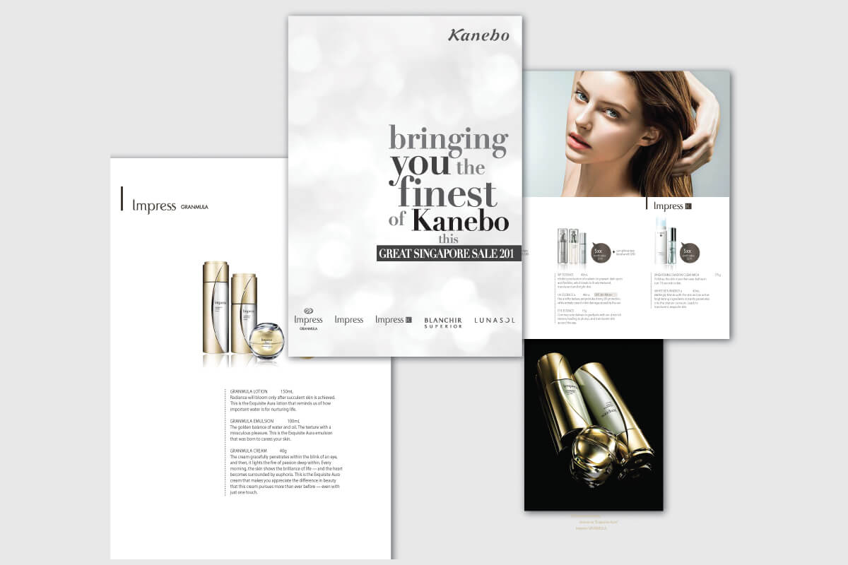 Fuchsia Creative designed and developed direct mailers and product catalogues for Kanebo