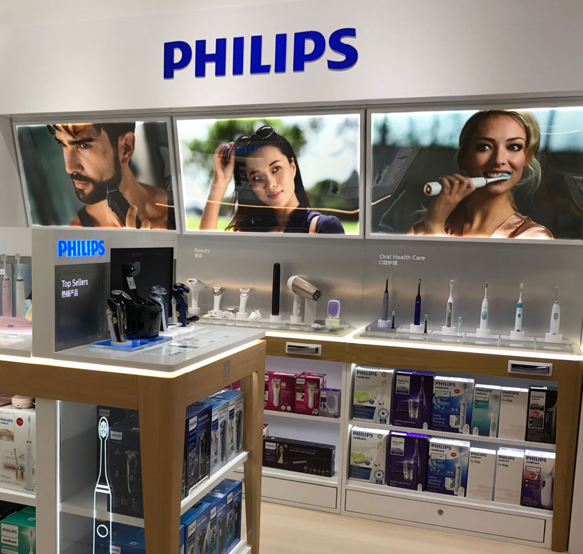 Retail visual merchandising for Philips Beauty by Fuchsia Creative Singapore