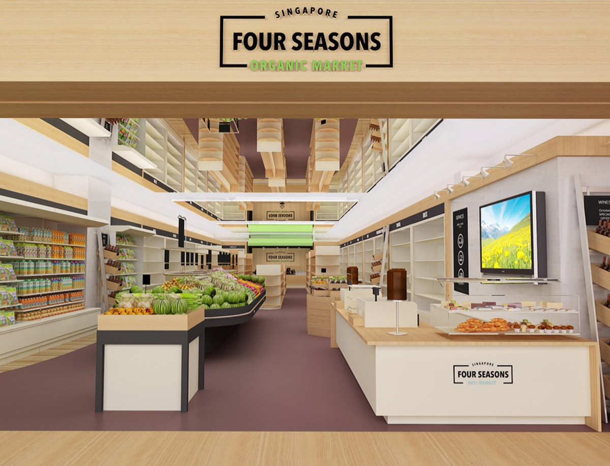 Fuchsia Creative designed a branded retail space for Four Seasons Organic  Store, Singapore