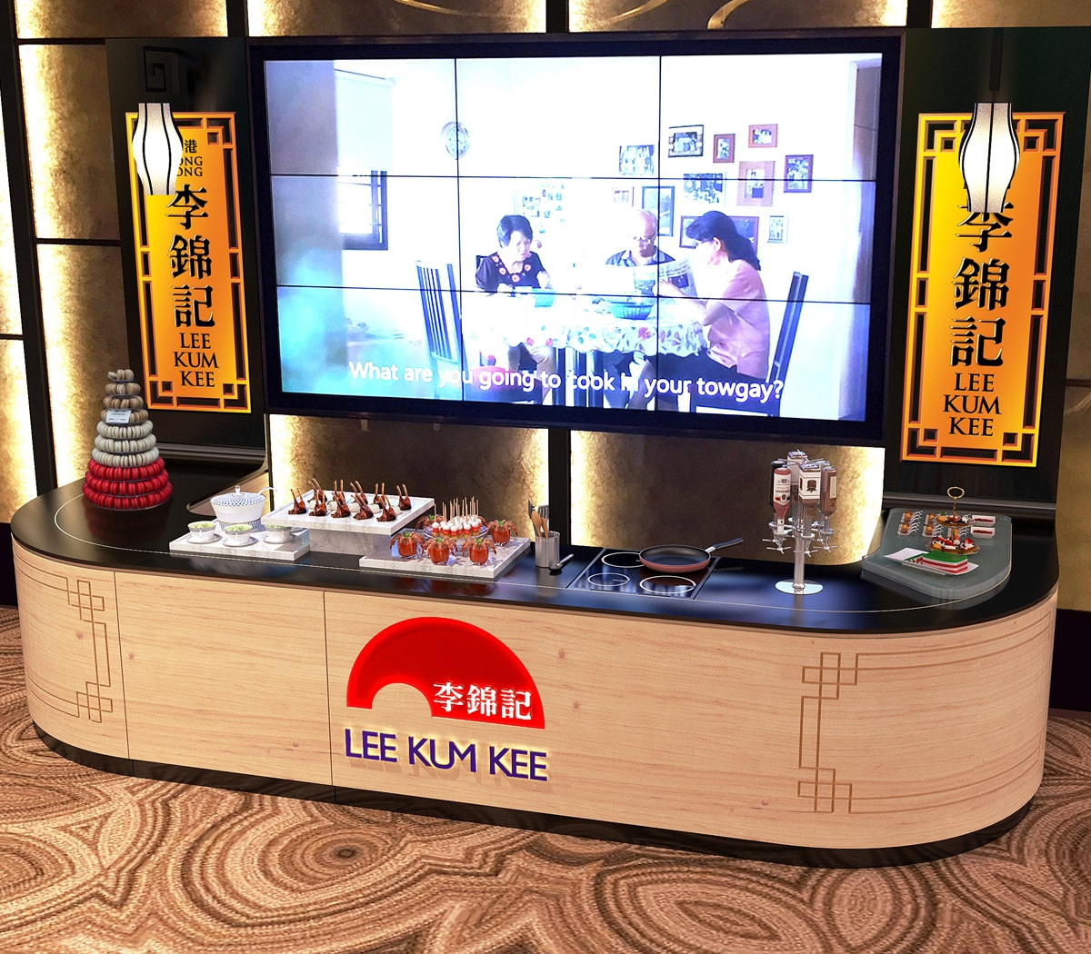Fuchsia Creative developed a exhibition stand for Lee Kum Kee with a live kitchen