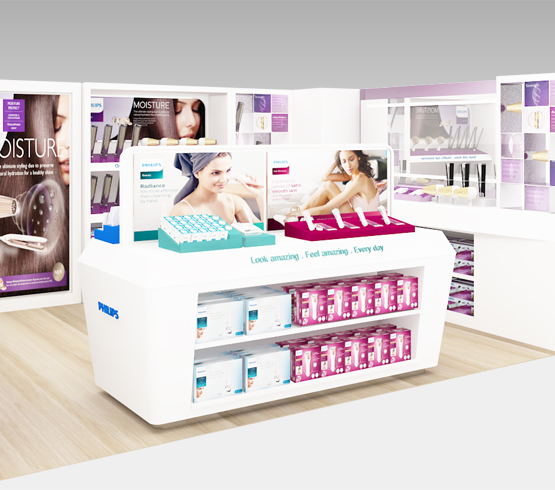 Creative retail spaces design for Philips Beauty regional store by Fuchsia Creative