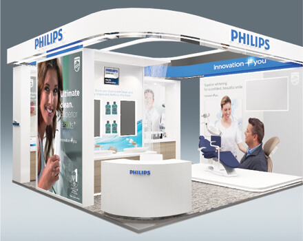 Fuchsia Creative designed and built the exhibition stand for Philips oral healthcare products