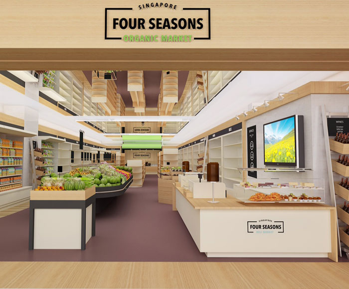 Fuchsia Creative redesigned and renovated the Four Seasons Organic retail store